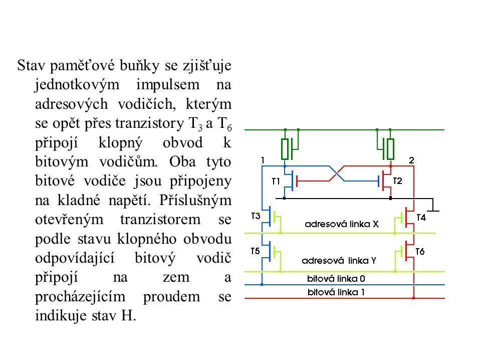 Stav paměťové buňky se zjišťuje jednotkovým impulsem na adresových vodičích, kterým se opět přes tranzistory T 3 a T 6 připojí klopný obvod k bitovým vodičům.