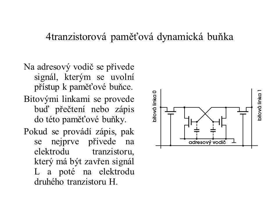 4tranzistorová paměťová dynamická buňka Na adresový vodič se přivede signál, kterým se uvolní přístup k paměťové buňce.