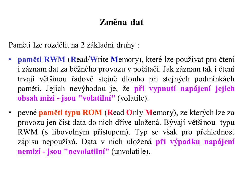 Změna dat Paměti lze rozdělit na 2 základní druhy : paměti RWM (Read/Write Memory), které lze používat pro čtení i záznam dat za běžného provozu v počítači.