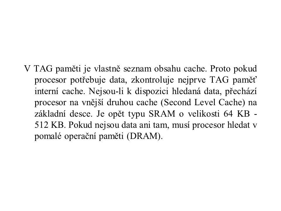 V TAG paměti je vlastně seznam obsahu cache.