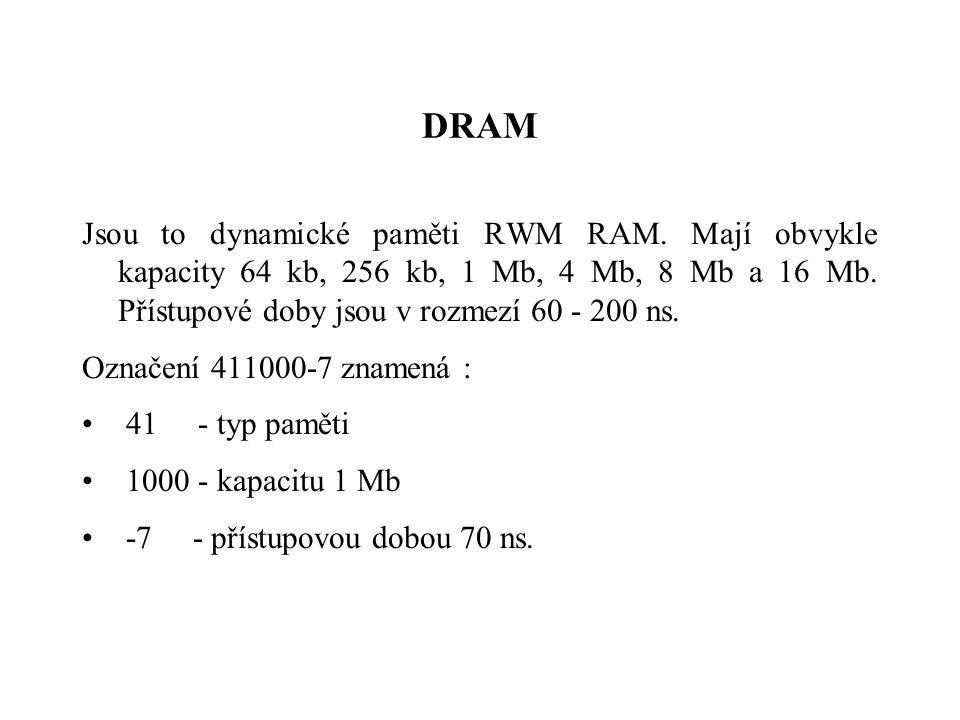 DRAM Jsou to dynamické paměti RWM RAM.