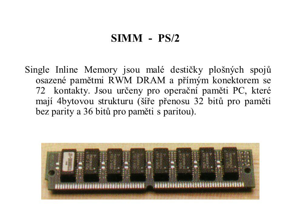 SIMM - PS/2 Single Inline Memory jsou malé destičky plošných spojů osazené pamětmi RWM DRAM a přímým konektorem se 72 kontakty.