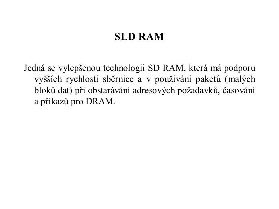 SLD RAM Jedná se vylepšenou technologii SD RAM, která má podporu vyšších rychlostí sběrnice a v používání paketů (malých bloků dat) při obstarávání adresových požadavků, časování a příkazů pro DRAM.