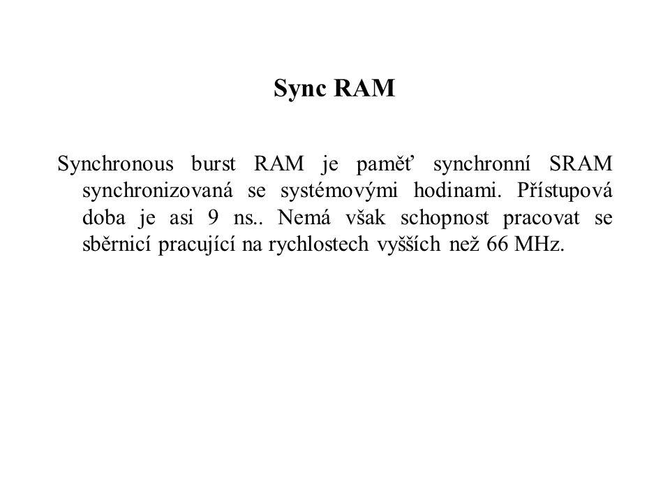 Sync RAM Synchronous burst RAM je paměť synchronní SRAM synchronizovaná se systémovými hodinami.