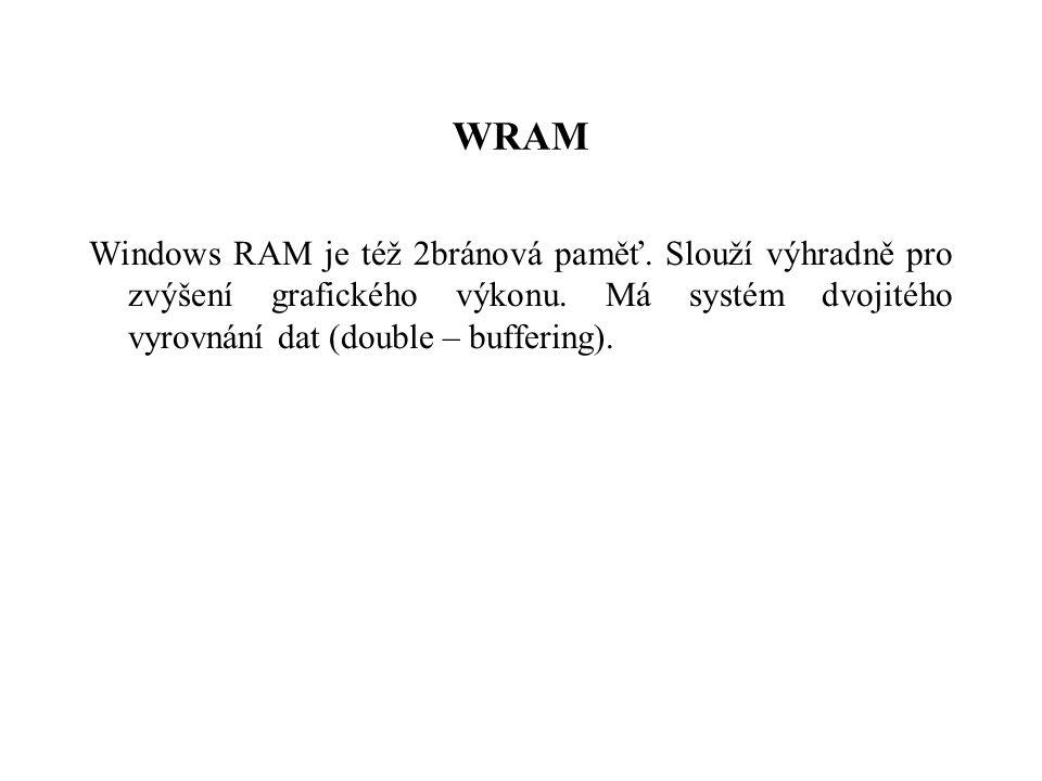 WRAM Windows RAM je též 2bránová paměť.Slouží výhradně pro zvýšení grafického výkonu.
