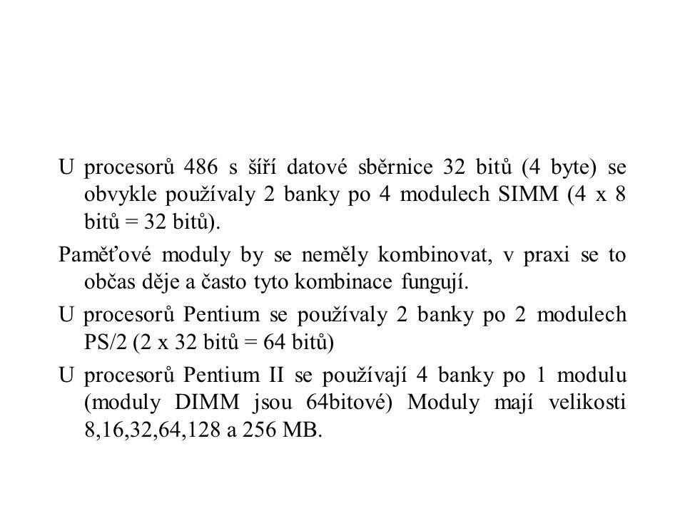 U procesorů 486 s šíří datové sběrnice 32 bitů (4 byte) se obvykle používaly 2 banky po 4 modulech SIMM (4 x 8 bitů = 32 bitů).
