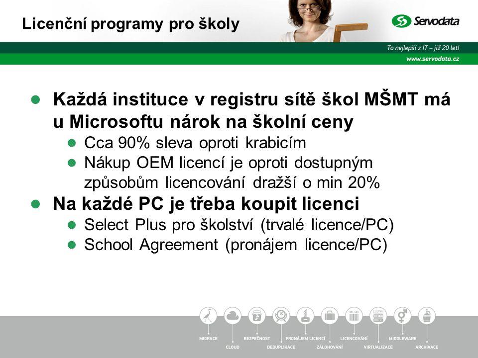● Každá instituce v registru sítě škol MŠMT má u Microsoftu nárok na školní ceny ● Cca 90% sleva oproti krabicím ● Nákup OEM licencí je oproti dostupným způsobům licencování dražší o min 20% ● Na každé PC je třeba koupit licenci ● Select Plus pro školství (trvalé licence/PC) ● School Agreement (pronájem licence/PC) Licenční programy pro školy