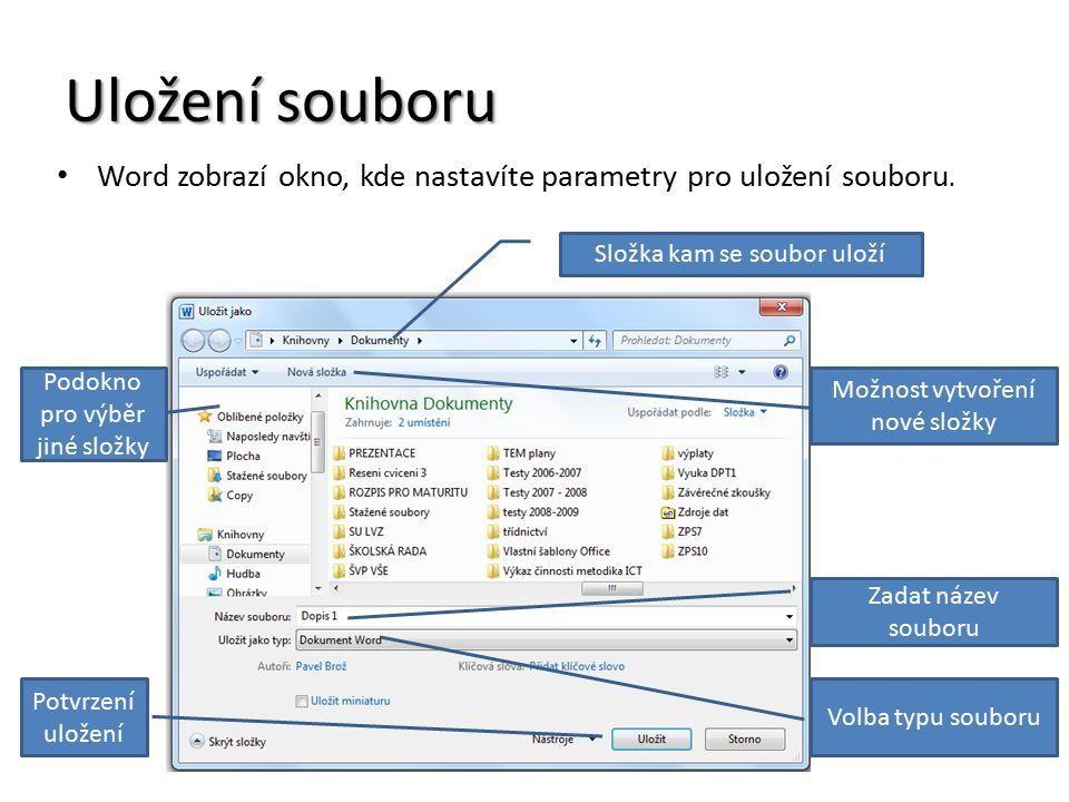 Uložení souboru Word zobrazí okno, kde nastavíte parametry pro uložení souboru.