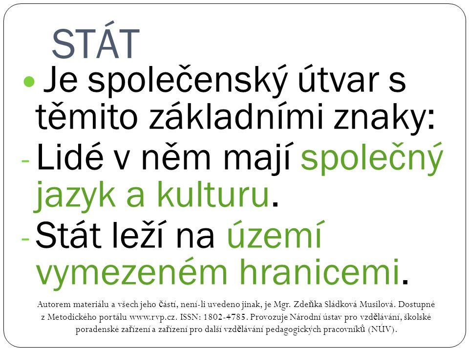 STÁT Autorem materiálu a všech jeho č ástí, není-li uvedeno jinak, je Mgr. Zde ň ka Sládková Musilová. Dostupné z Metodického portálu www.rvp.cz. ISSN