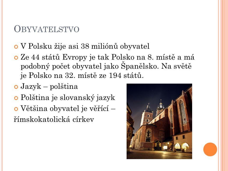O BYVATELSTVO V Polsku žije asi 38 miliónů obyvatel Ze 44 států Evropy je tak Polsko na 8.