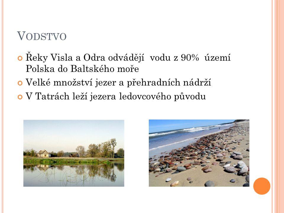 V ODSTVO Řeky Visla a Odra odvádějí vodu z 90% území Polska do Baltského moře Velké množství jezer a přehradních nádrží V Tatrách leží jezera ledovcov