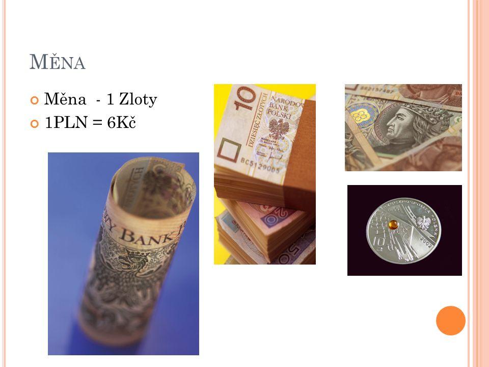 M ĚNA Měna - 1 Zloty 1PLN = 6Kč