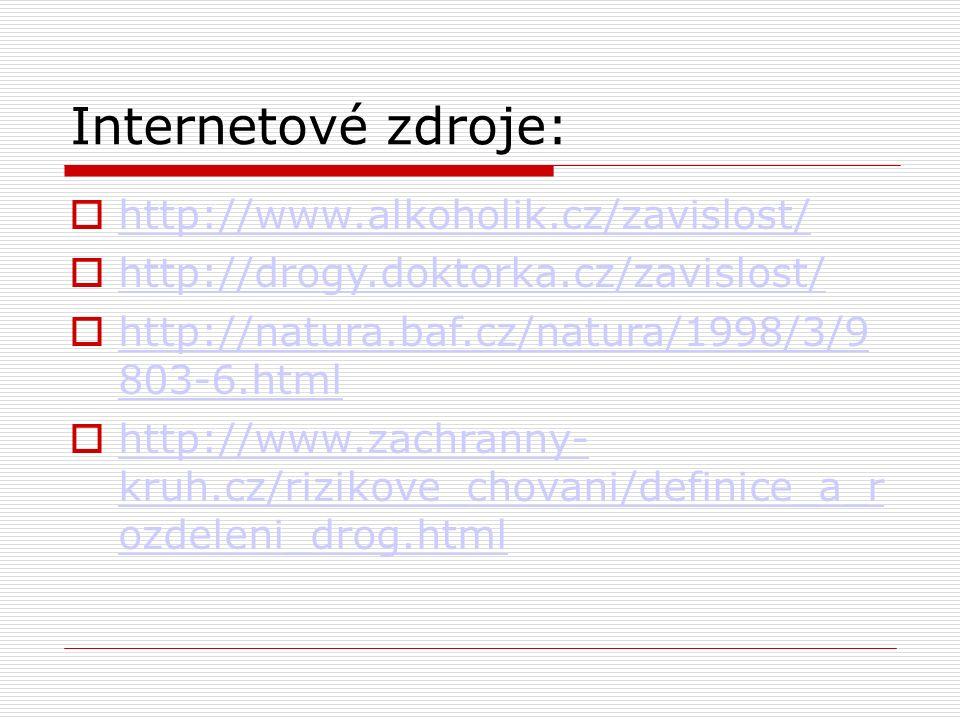 Internetové zdroje:  http://www.alkoholik.cz/zavislost/ http://www.alkoholik.cz/zavislost/  http://drogy.doktorka.cz/zavislost/ http://drogy.doktorka.cz/zavislost/  http://natura.baf.cz/natura/1998/3/9 803-6.html http://natura.baf.cz/natura/1998/3/9 803-6.html  http://www.zachranny- kruh.cz/rizikove_chovani/definice_a_r ozdeleni_drog.html http://www.zachranny- kruh.cz/rizikove_chovani/definice_a_r ozdeleni_drog.html