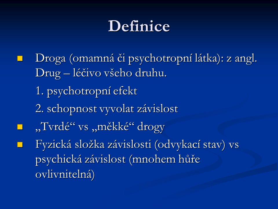 Definice Droga (omamná či psychotropní látka): z angl. Drug – léčivo všeho druhu. Droga (omamná či psychotropní látka): z angl. Drug – léčivo všeho dr