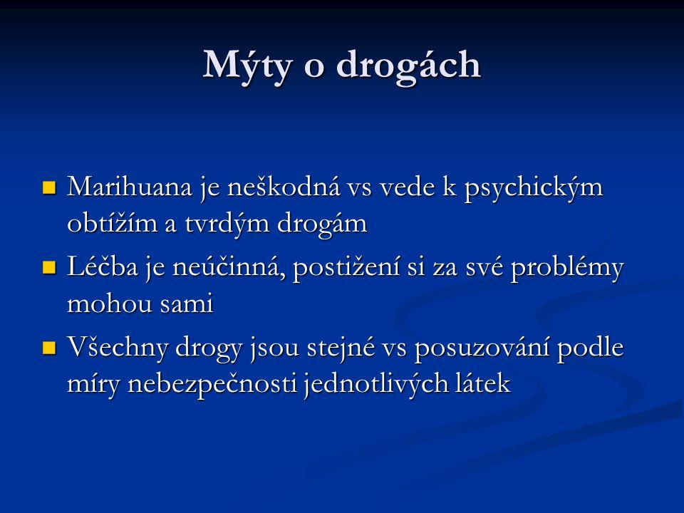 Mýty o drogách Marihuana je neškodná vs vede k psychickým obtížím a tvrdým drogám Marihuana je neškodná vs vede k psychickým obtížím a tvrdým drogám Léčba je neúčinná, postižení si za své problémy mohou sami Léčba je neúčinná, postižení si za své problémy mohou sami Všechny drogy jsou stejné vs posuzování podle míry nebezpečnosti jednotlivých látek Všechny drogy jsou stejné vs posuzování podle míry nebezpečnosti jednotlivých látek