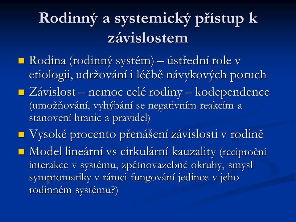 Rodinný a systemický přístup k závislostem Rodina (rodinný systém) – ústřední role v etiologii, udržování i léčbě návykových poruch Rodina (rodinný sy