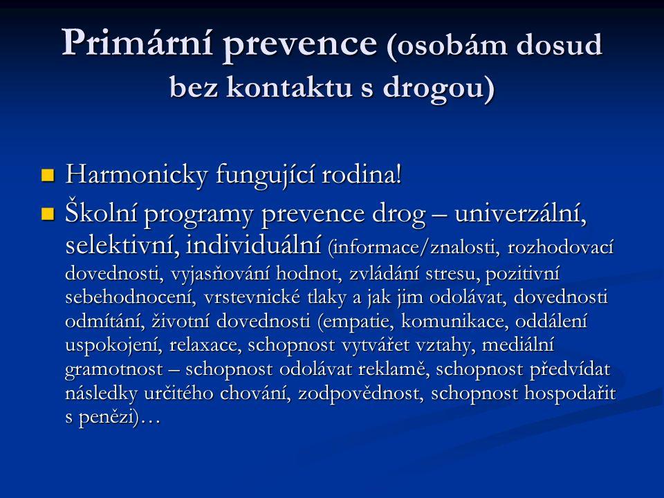 Sekundární prevence (předcházení vzniku a rozvoji závislosti u osob, které již drogu užívají) Terciální prevence (předcházení vážnému nebo trvalému zdravotnímu nebo sociálnímu poškození v souvislosti s užíváním drog) Osobní příklad rodičů = nejlepší a nejlevnější prevence (soulad mezi informacemi dětem a chováním rodičů)