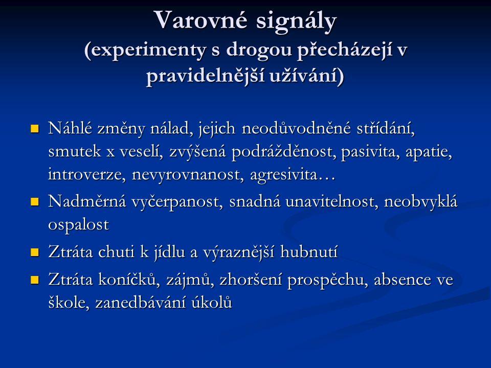 Varovné signály (experimenty s drogou přecházejí v pravidelnější užívání) Náhlé změny nálad, jejich neodůvodněné střídání, smutek x veselí, zvýšená podrážděnost, pasivita, apatie, introverze, nevyrovnanost, agresivita… Náhlé změny nálad, jejich neodůvodněné střídání, smutek x veselí, zvýšená podrážděnost, pasivita, apatie, introverze, nevyrovnanost, agresivita… Nadměrná vyčerpanost, snadná unavitelnost, neobvyklá ospalost Nadměrná vyčerpanost, snadná unavitelnost, neobvyklá ospalost Ztráta chuti k jídlu a výraznější hubnutí Ztráta chuti k jídlu a výraznější hubnutí Ztráta koníčků, zájmů, zhoršení prospěchu, absence ve škole, zanedbávání úkolů Ztráta koníčků, zájmů, zhoršení prospěchu, absence ve škole, zanedbávání úkolů