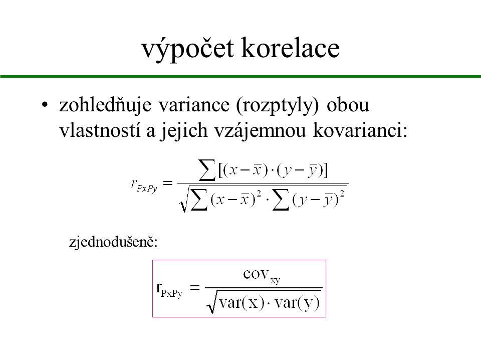 výpočet korelace zohledňuje variance (rozptyly) obou vlastností a jejich vzájemnou kovarianci: zjednodušeně: