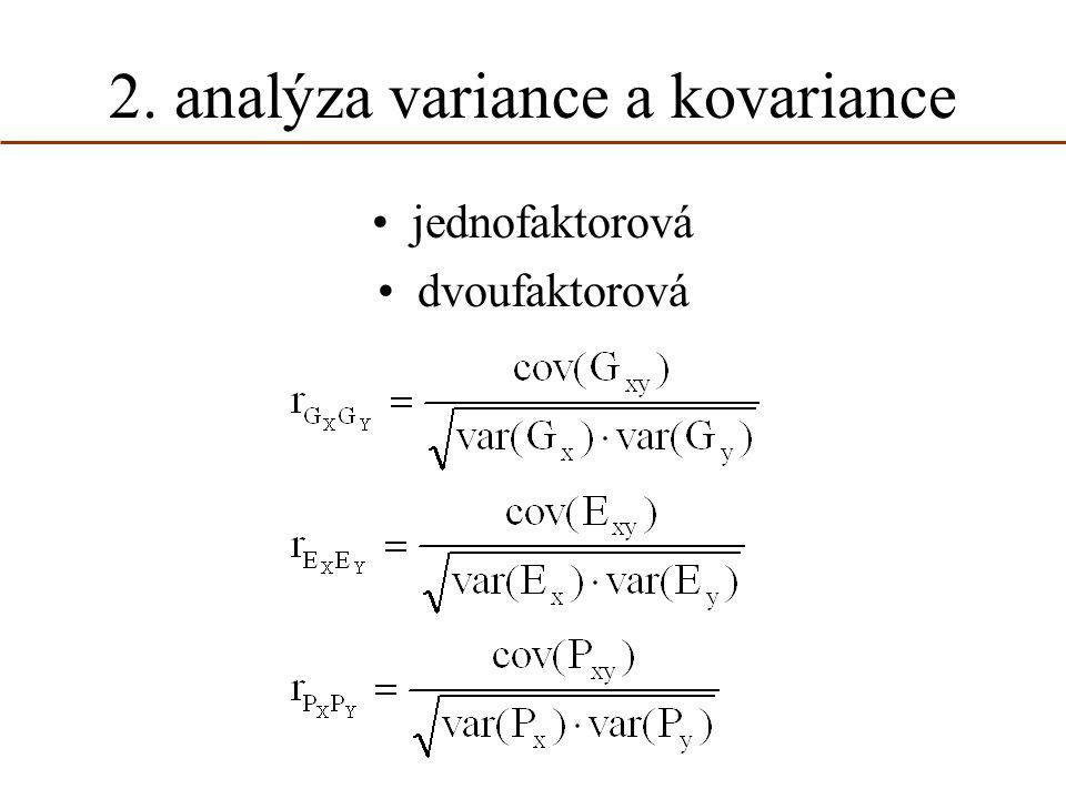 2. analýza variance a kovariance jednofaktorová dvoufaktorová