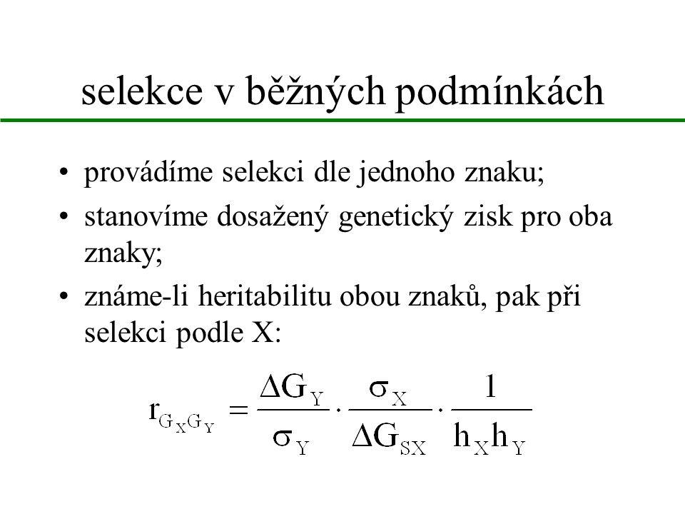 selekce v běžných podmínkách provádíme selekci dle jednoho znaku; stanovíme dosažený genetický zisk pro oba znaky; známe-li heritabilitu obou znaků, pak při selekci podle X: