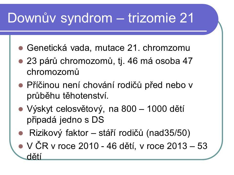 Downův syndrom – trizomie 21 Genetická vada, mutace 21.