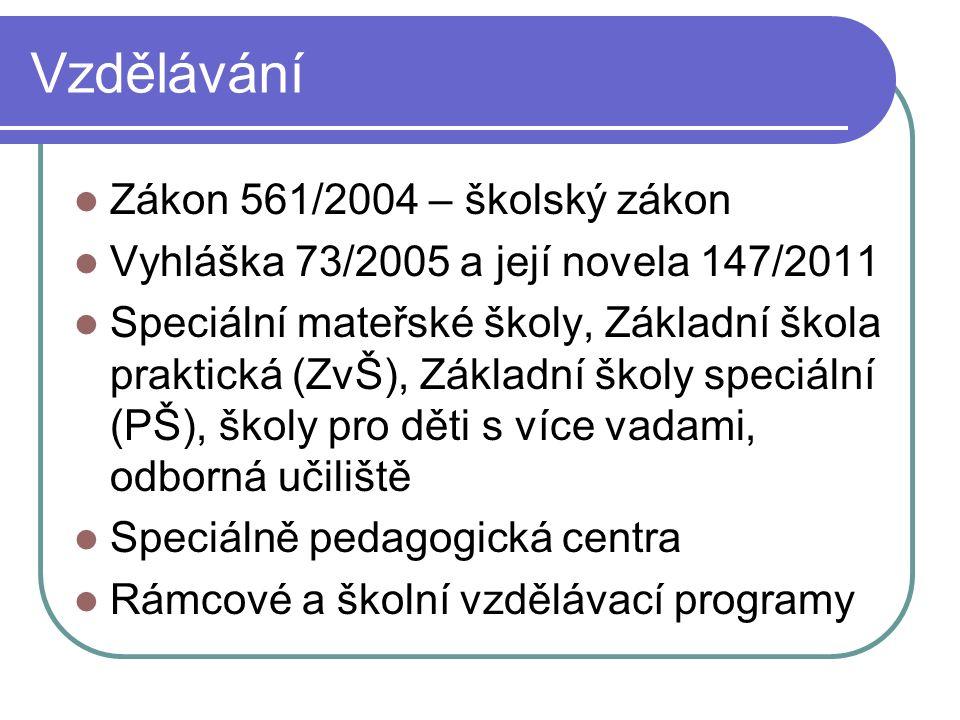 Vzdělávání Zákon 561/2004 – školský zákon Vyhláška 73/2005 a její novela 147/2011 Speciální mateřské školy, Základní škola praktická (ZvŠ), Základní školy speciální (PŠ), školy pro děti s více vadami, odborná učiliště Speciálně pedagogická centra Rámcové a školní vzdělávací programy