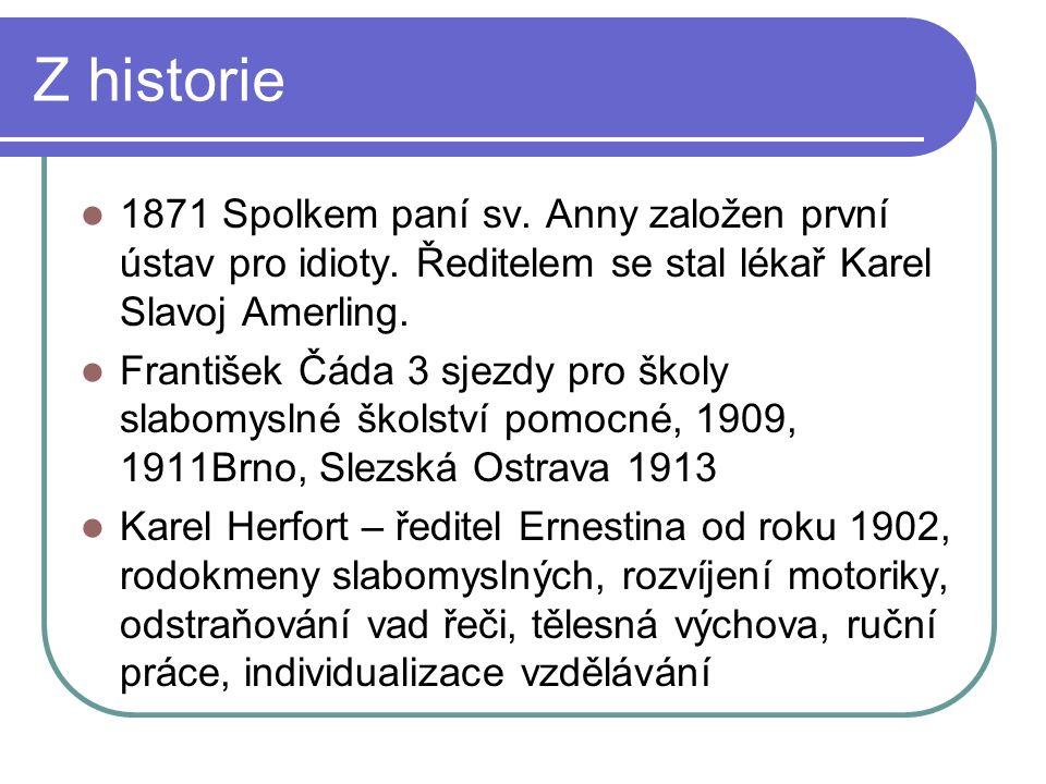 Z historie 1871 Spolkem paní sv. Anny založen první ústav pro idioty.