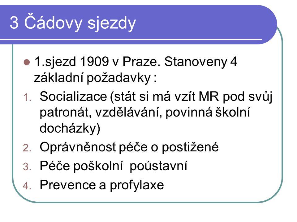 3 Čádovy sjezdy 1.sjezd 1909 v Praze. Stanoveny 4 základní požadavky : 1.