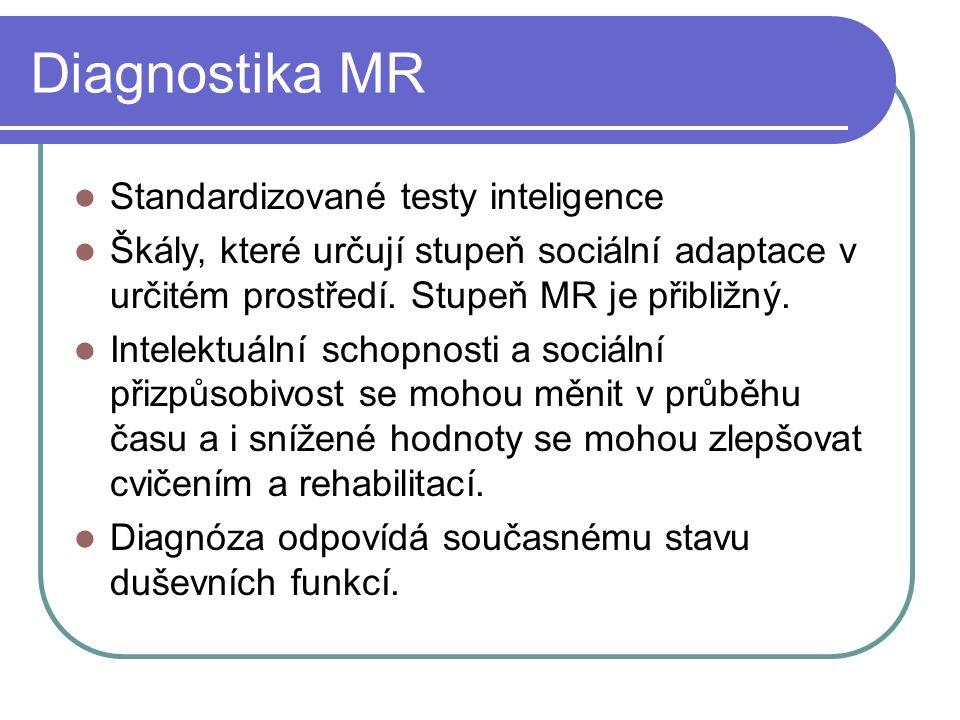 Diagnostika MR Standardizované testy inteligence Škály' které určují stupeň sociální adaptace v určitém prostředí.