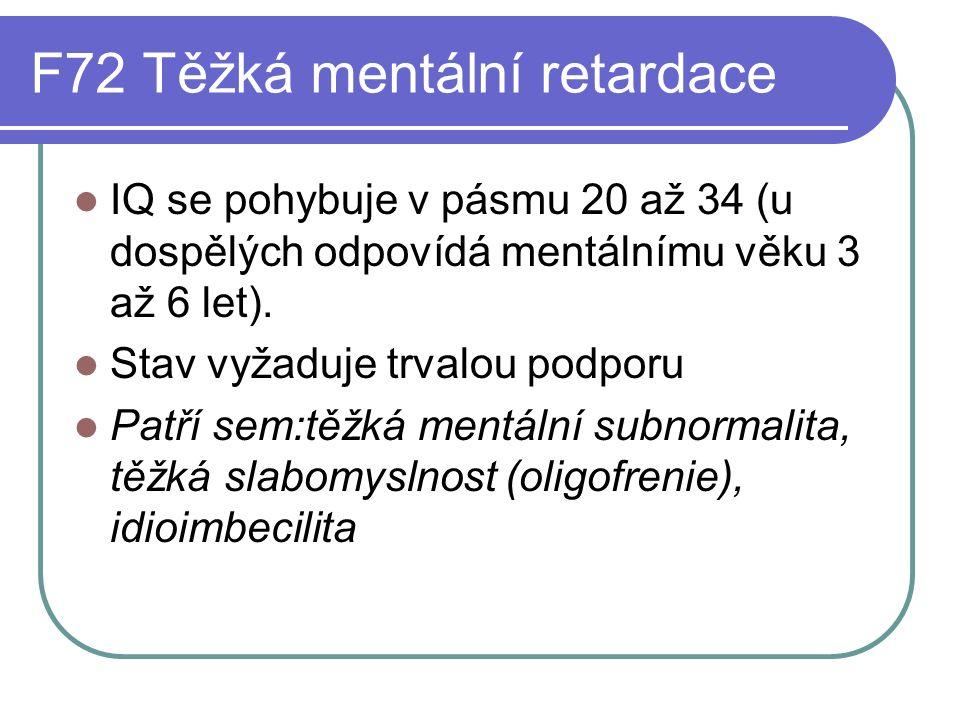 F73Hluboká mentální retardace IQ dosahuje nejvýše 20 (což odpovídá u dospělých mentálnímu věku pod 3 roky).