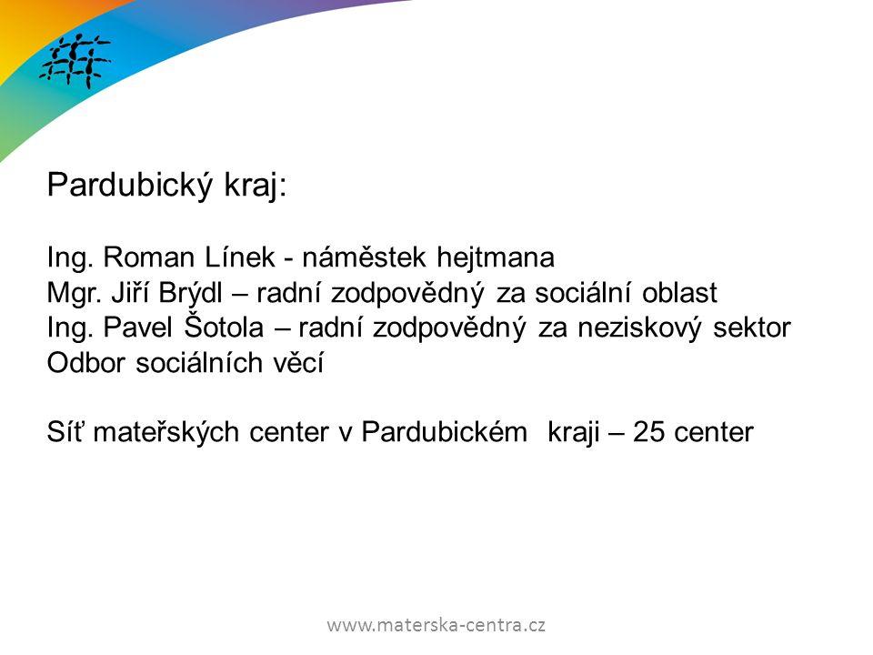 www.materska-centra.cz Pardubický kraj: Ing. Roman Línek - náměstek hejtmana Mgr.