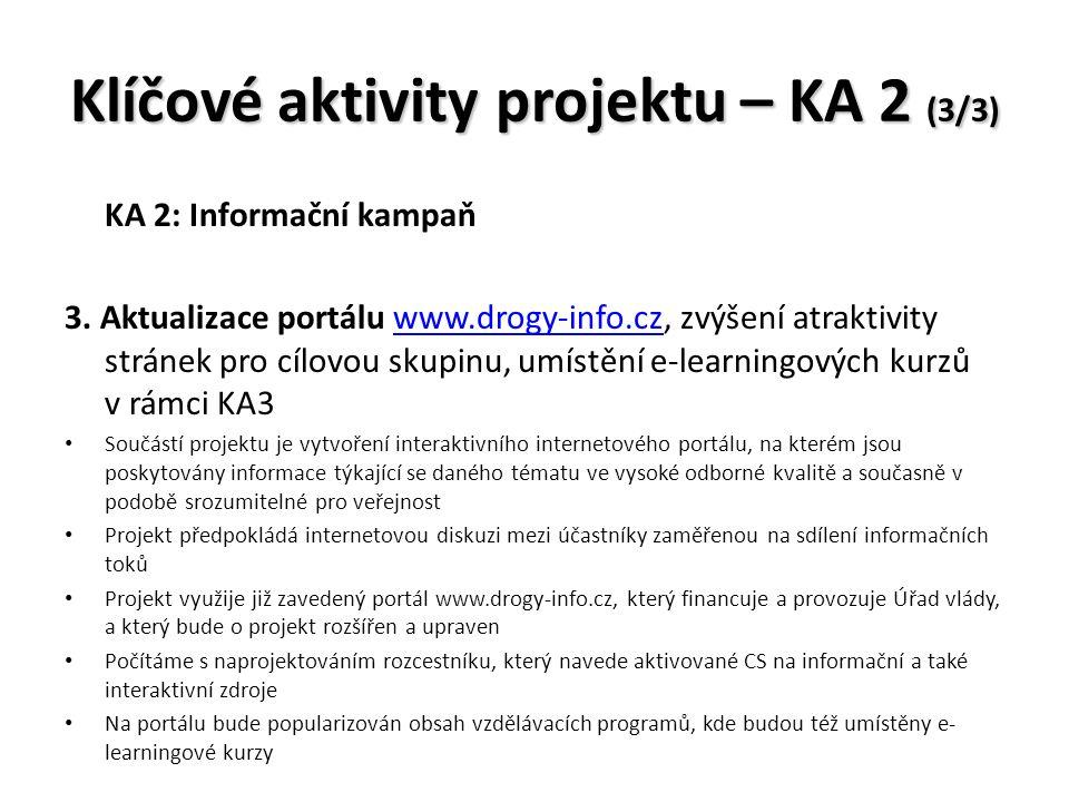 Klíčové aktivity projektu – KA 2 (3/3) KA 2: Informační kampaň 3.