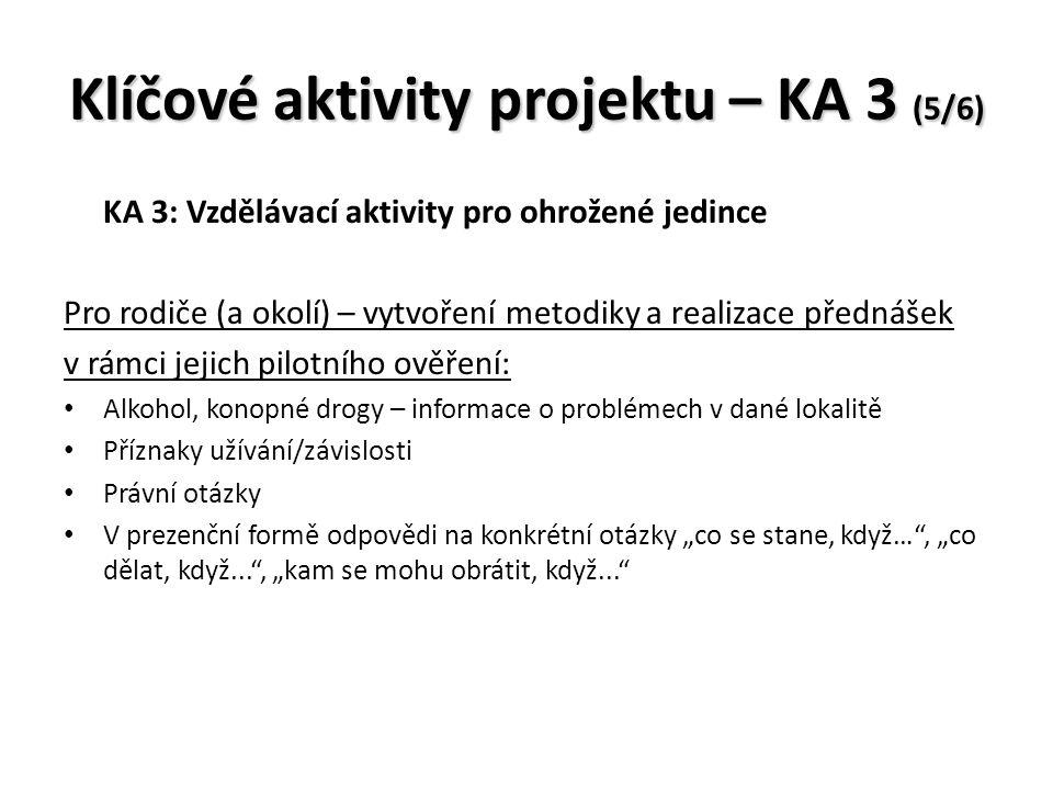 """Klíčové aktivity projektu – KA 3 (5/6) KA 3: Vzdělávací aktivity pro ohrožené jedince Pro rodiče (a okolí) – vytvoření metodiky a realizace přednášek v rámci jejich pilotního ověření: Alkohol, konopné drogy – informace o problémech v dané lokalitě Příznaky užívání/závislosti Právní otázky V prezenční formě odpovědi na konkrétní otázky """"co se stane, když… , """"co dělat, když... , """"kam se mohu obrátit, když..."""