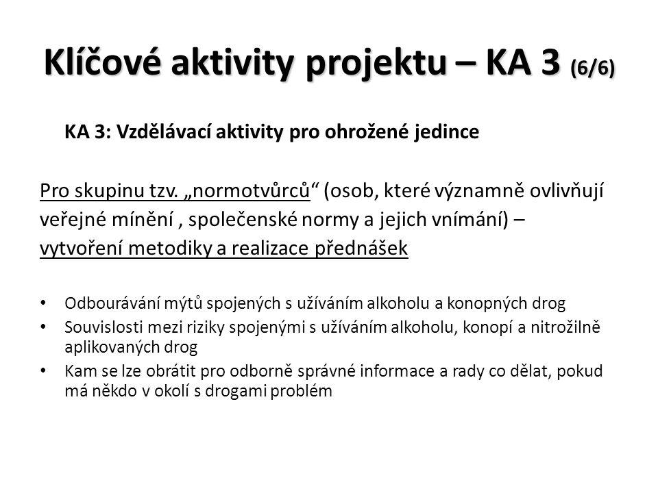 Klíčové aktivity projektu – KA 3 (6/6) KA 3: Vzdělávací aktivity pro ohrožené jedince Pro skupinu tzv.