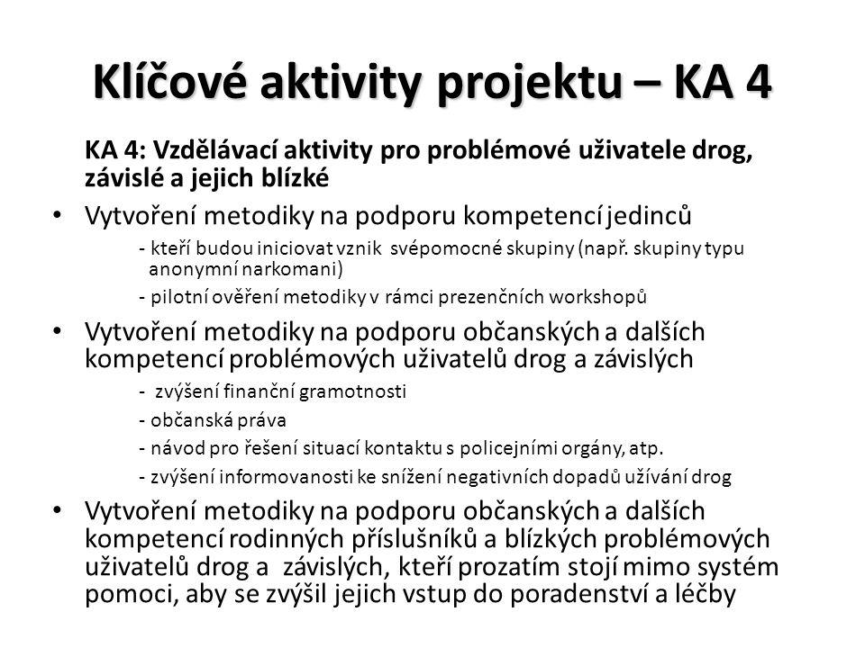 Klíčové aktivity projektu – KA 4 KA 4: Vzdělávací aktivity pro problémové uživatele drog, závislé a jejich blízké Vytvoření metodiky na podporu kompetencí jedinců - kteří budou iniciovat vznik svépomocné skupiny (např.
