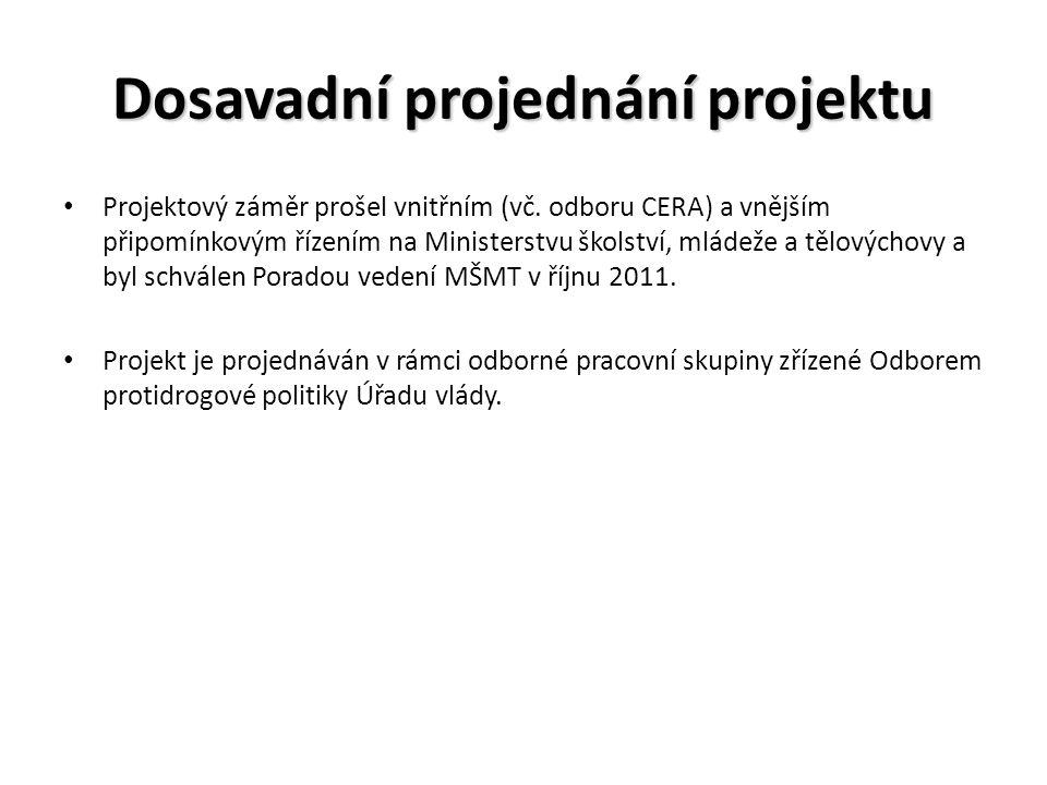 Dosavadní projednání projektu Projektový záměr prošel vnitřním (vč.
