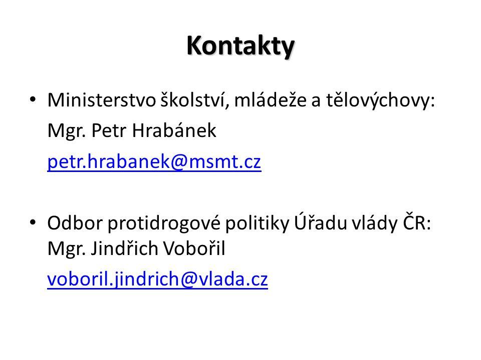 Kontakty Ministerstvo školství, mládeže a tělovýchovy: Mgr.