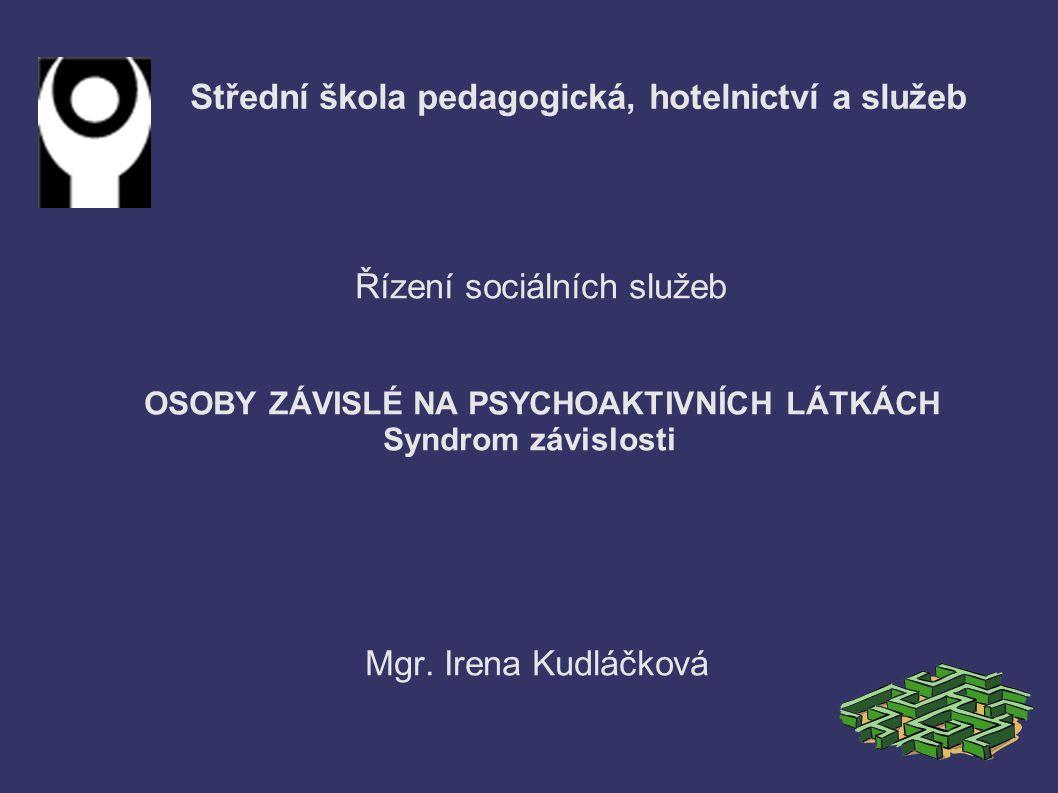 Střední škola pedagogická, hotelnictví a služeb Řízení sociálních služeb OSOBY ZÁVISLÉ NA PSYCHOAKTIVNÍCH LÁTKÁCH Syndrom závislosti Mgr.