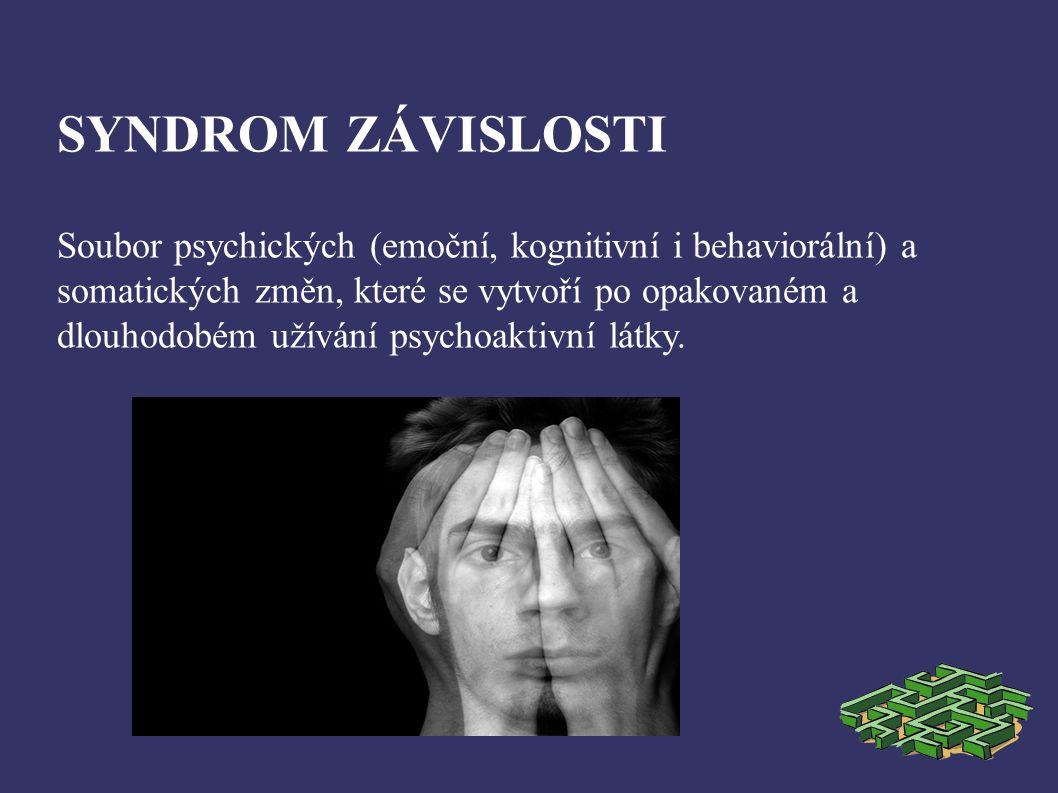 SYNDROM ZÁVISLOSTI Soubor psychických (emoční, kognitivní i behaviorální) a somatických změn, které se vytvoří po opakovaném a dlouhodobém užívání psychoaktivní látky.