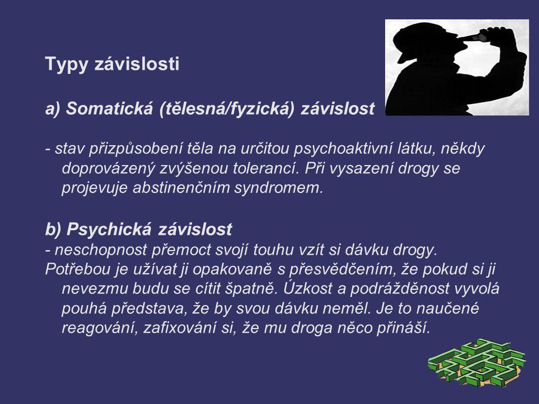 Typy závislosti a) Somatická (tělesná/fyzická) závislost - stav přizpůsobení těla na určitou psychoaktivní látku, někdy doprovázený zvýšenou tolerancí.