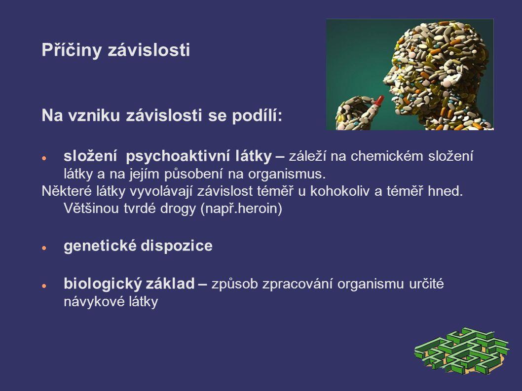 Příčiny závislosti Na vzniku závislosti se podílí: složení psychoaktivní látky – záleží na chemickém složení látky a na jejím působení na organismus.