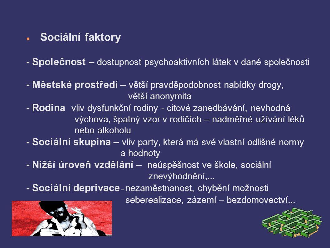 Sociální faktory - Společnost – dostupnost psychoaktivních látek v dané společnosti - Městské prostředí – větší pravděpodobnost nabídky drogy, větší anonymita - Rodina  vliv dysfunkční rodiny - citové zanedbávání, nevhodná výchova, špatný vzor v rodičích – nadměřné užívání léků nebo alkoholu - Sociální skupina – vliv party, která má své vlastní odlišné normy a hodnoty - Nižší úroveň vzdělání – neúspěšnost ve škole, sociální znevýhodnění,...