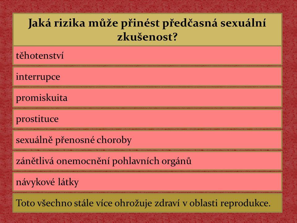 Jaká rizika může přinést předčasná sexuální zkušenost? těhotenství interrupce promiskuita prostituce sexuálně přenosné choroby zánětlivá onemocnění po