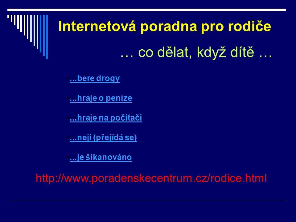 Internetová poradna pro rodiče … co dělat, když dítě … http://www.poradenskecentrum.cz/rodice.html...bere drogy...hraje o peníze...hraje na počítači...nejí (přejídá se)...je šikanováno