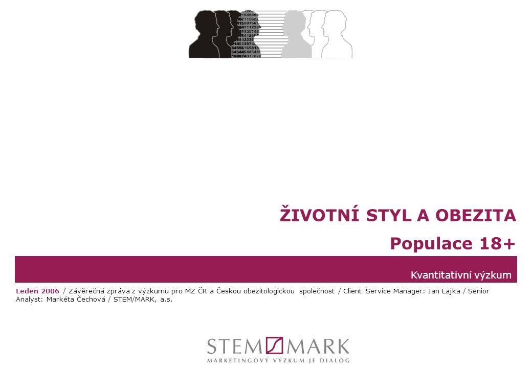 STEM/MARK, a.s.Životní styl a obezita v ČR, leden 2006strana 12 BMI 25 – 64 let  Pro možnost srovnání s výsledky studie MONICA byla ze souboru obecné populace 18+ vybrána data za populaci 25 – 64 let.