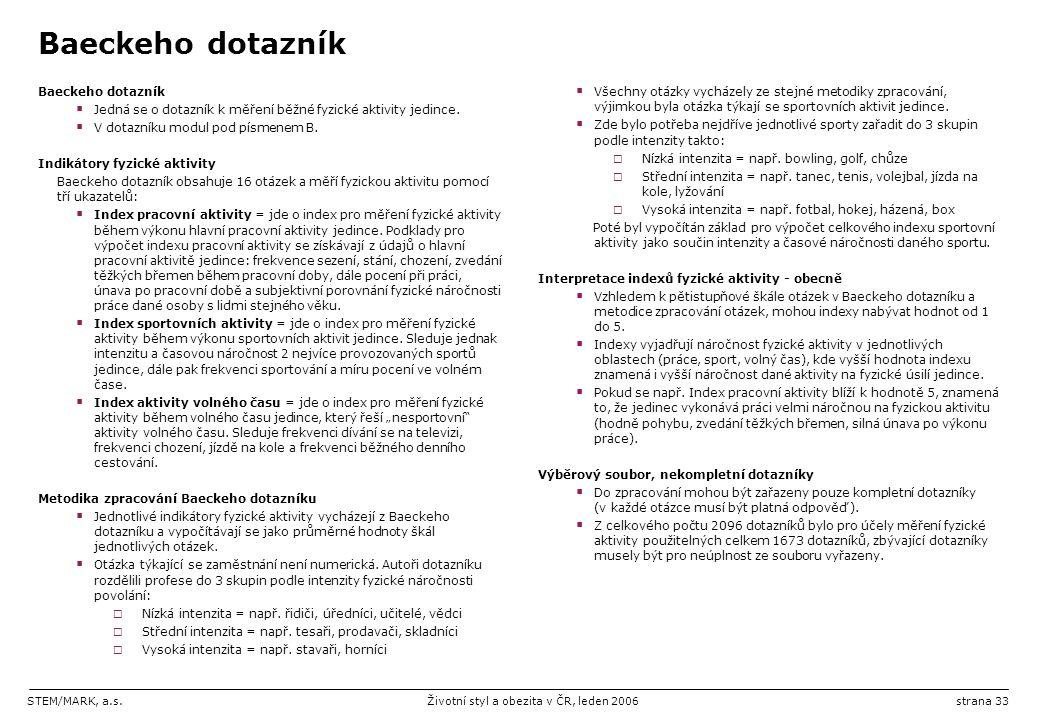 STEM/MARK, a.s.Životní styl a obezita v ČR, leden 2006strana 33 Baeckeho dotazník  Jedná se o dotazník k měření běžné fyzické aktivity jedince.