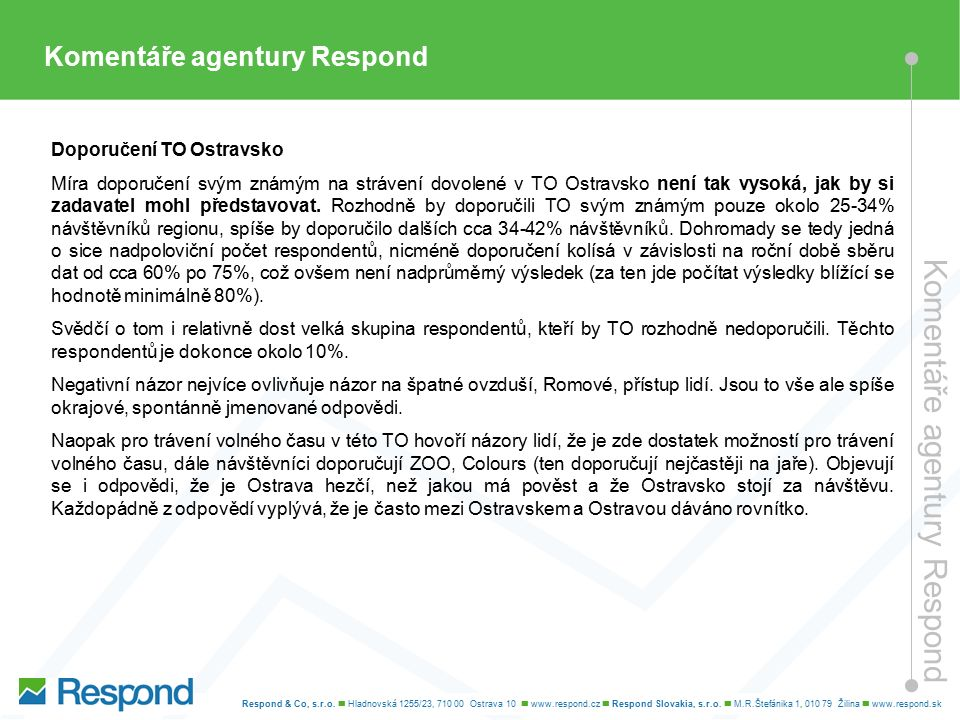 Komentáře agentury Respond Doporučení TO Ostravsko Míra doporučení svým známým na strávení dovolené v TO Ostravsko není tak vysoká, jak by si zadavatel mohl představovat.