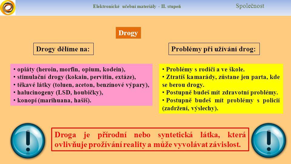 Elektronické učební materiály - II. stupeň Společnost Drogy Drogy dělíme na:Problémy při užívání drog: opiáty (heroin, morfin, opium, kodein), stimula