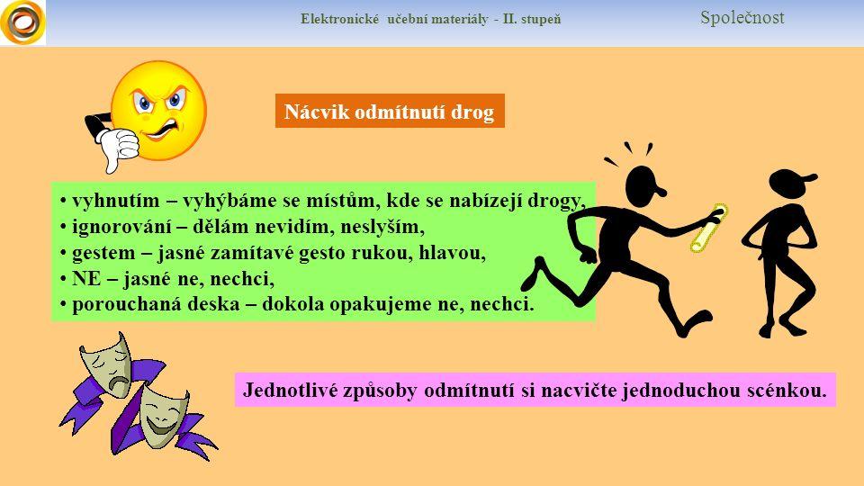 Elektronické učební materiály - II. stupeň Společnost Nácvik odmítnutí drog vyhnutím – vyhýbáme se místům, kde se nabízejí drogy, ignorování – dělám n
